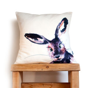 Inky Hare Cushion - bedroom
