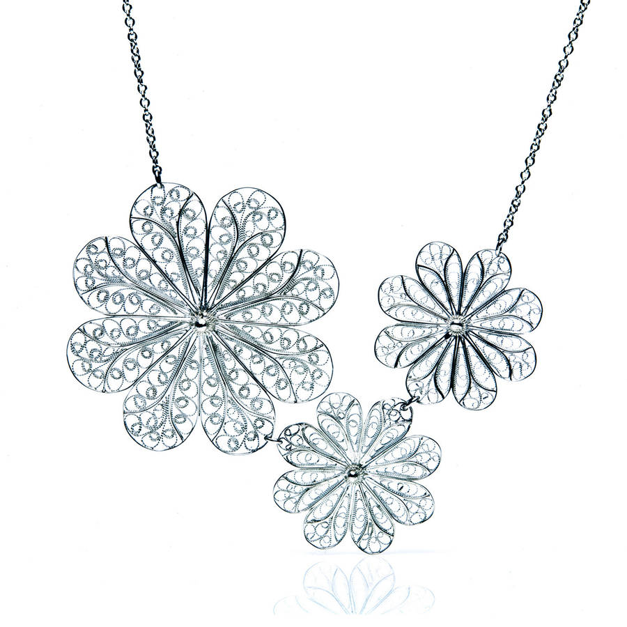 Silver Filigree Rosette Flower Short Necklace
