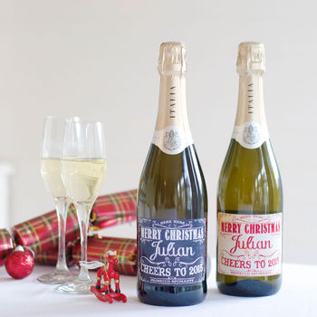 Personalised Christmas Wine Prosecco Spumante