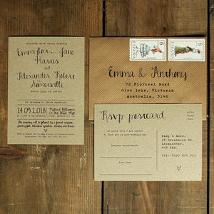 Calligraphy Kraft Wedding Invitation - wedding stationery