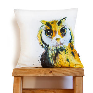 Inky Owl Cushion - living room