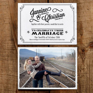 Vintage Photo Postcard Wedding Invitation