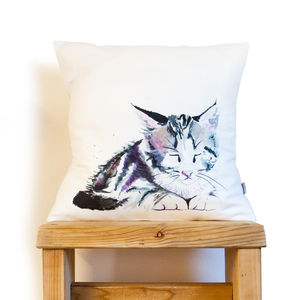 Inky Kitten Cushion - living room