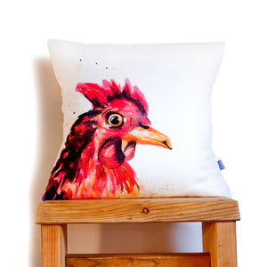 Inky Chicken Cushion - living room