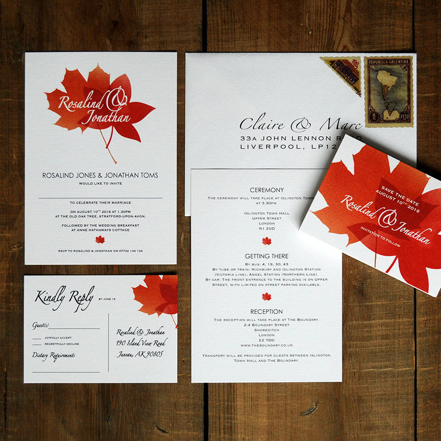 autumn leaves wedding invitations and save the date by feel good