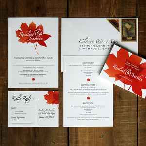 Autumn Leaves Wedding Invitations And Save The Date - rustic autumn wedding styling