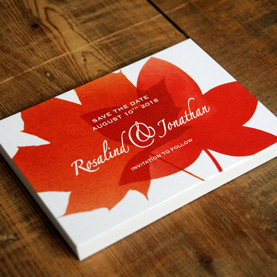 autumn leaves wedding invitations and save the date by feel good ...