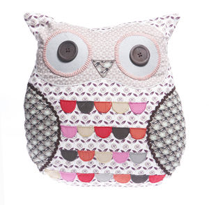 Vintage Owl Cushion In Grey - home sale