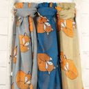 Sleeping Fox Scarf Available in Beige, Grey and Deep Teal