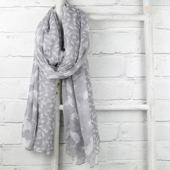 Playful Cats Scarf in Grey
