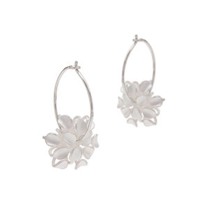 Silver Allium Flower Hoop Earrings