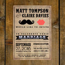 Moustache And Lips Wedding Invitation And Save The Date