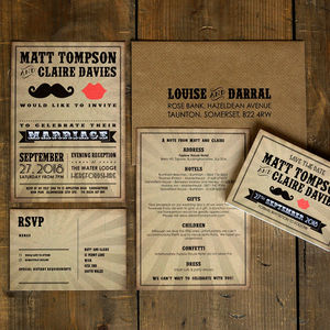 Moustache And Lips Wedding Invitation And Save The Date - invitations