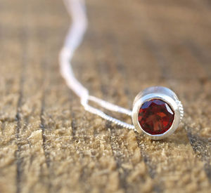 Garnet Silver Slider Necklace, January Birthstone