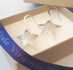 Silver Stars Drop Earrings