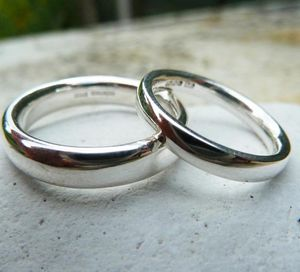 Silver Comfort Fit Wedding Ring Set