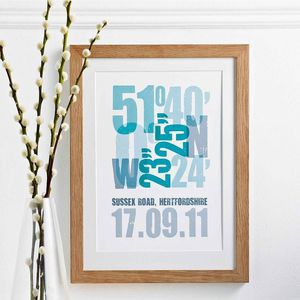 'Personalised Coordinate Print' - posters & prints