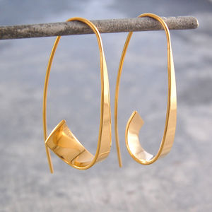 Ribbon Hoop Gold Earrings