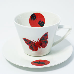 Red Butterfly Tea / Coffee Cup And Saucer