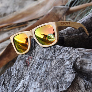 Kicker Stained Bamboo Sunglasses With Gold Lenses - mens