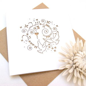 Wedding Or Christening Dove Laser Cut Card - wedding cards