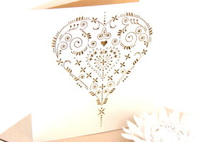 Heart Laser Cut Card - wedding, engagement & anniversary cards