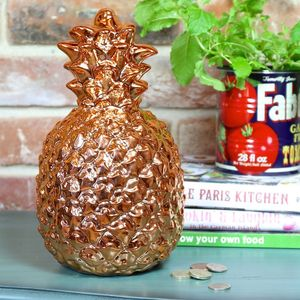 Large Copper Pineapple Money Box - on trend: copper