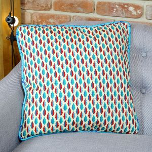 Leaf Print Cushion In Red And Blue - cushions
