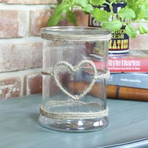 Glass Jar Candle Holder With Rope Heart