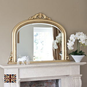 Isabella Gold Crackle Overmantel Mirror - mirrors