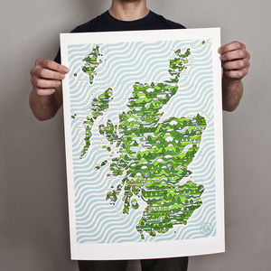 A2 Scotland Wired Map Print - maps & locations