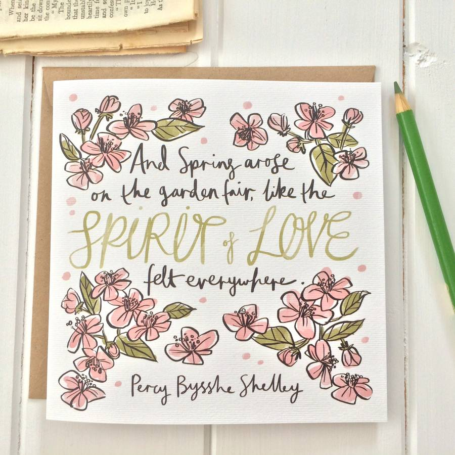 Literary Quote Spring Flowers Greetings Card By Literary