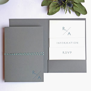 Monogram Pocketfold Letterpress Wedding Invitation - invitations
