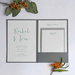 Calligraphy Pocketfold Letterpress Wedding Invitation - invitations