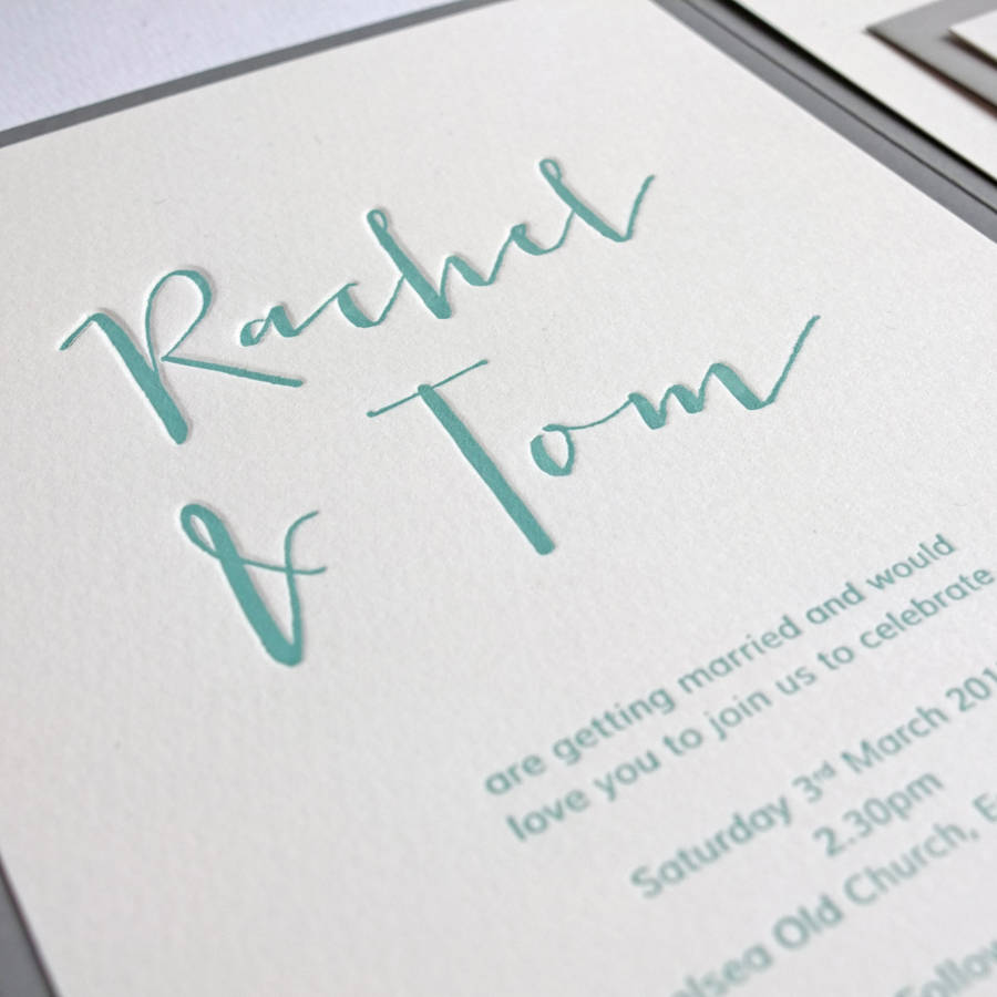 calligraphy pocketfold letterpress wedding invitation - Letterpress Wedding Invitations