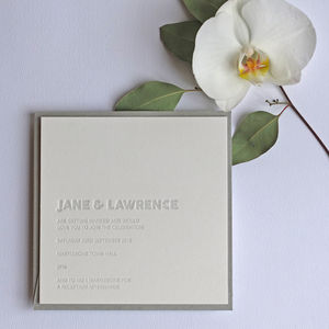 Embossed Letterpress Wedding Invitation - invitations