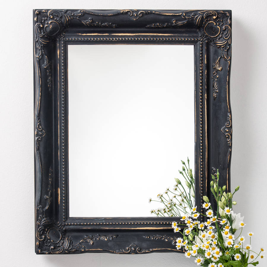vintage black frame. Vintage Matt Black Mirror Distressed Frame O