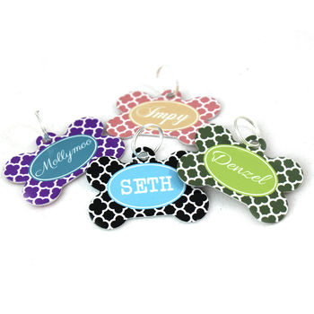 Personalised Clover Pet Tag Bone Shaped