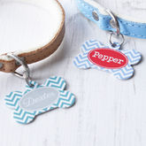 Personalised Chevron Pet Tag Bone Shaped - pets