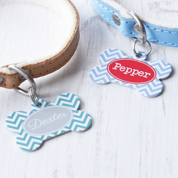 Personalised Pet Name ID Tag Bone Chevron