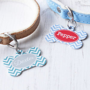 Personalised Chevron Pet Tag Bone Shaped - walking