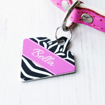 Personalised Pet Name ID Tag Diamond Zebra