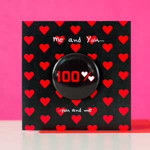 '100% Love' Card With A Badge To Wear