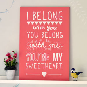 'I Belong With You' Lumineers Print - gifts for her sale