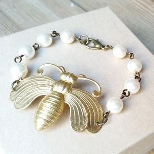 Bee Bracelet Made With Swarovski Pearls - bracelets & bangles