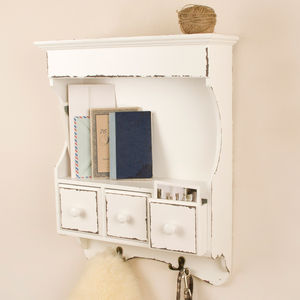 Antique Cream Three Drawer Wall Cabinet - living room
