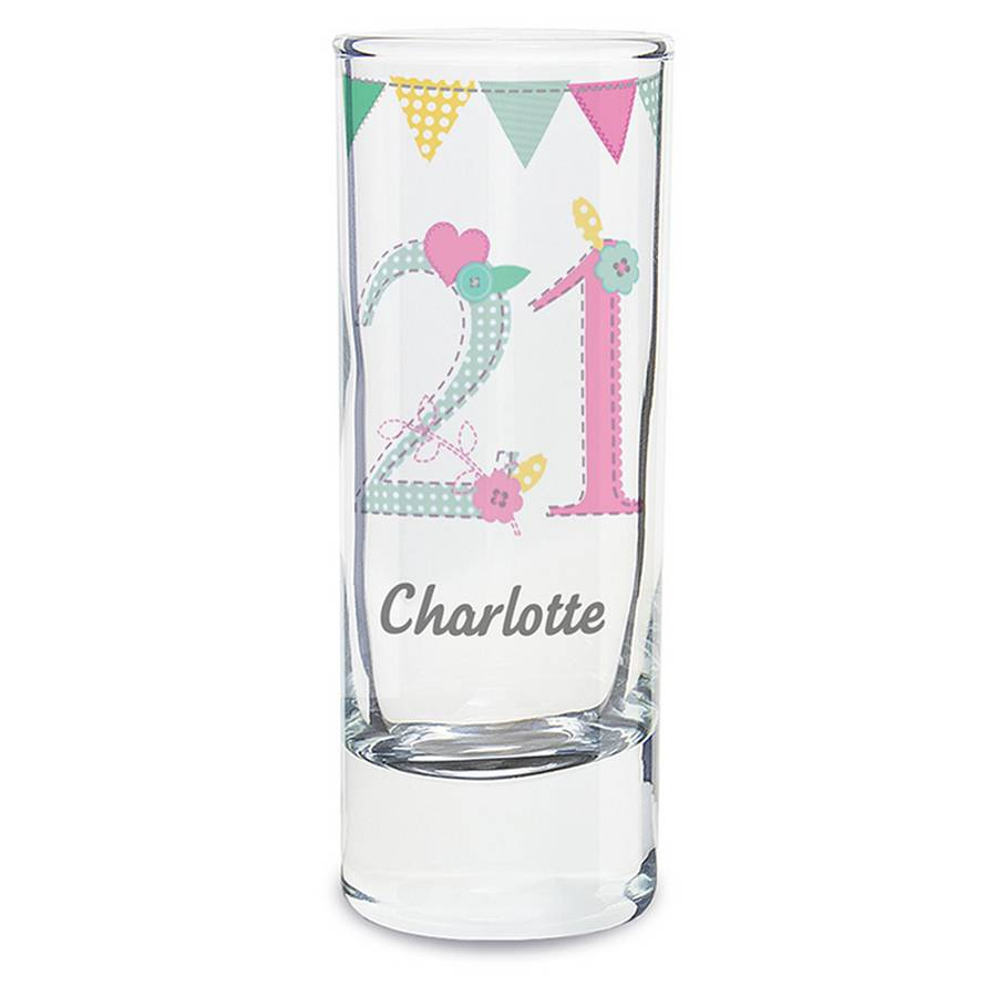 21st Birthday Personalised Shot Glass By Pippins Gift
