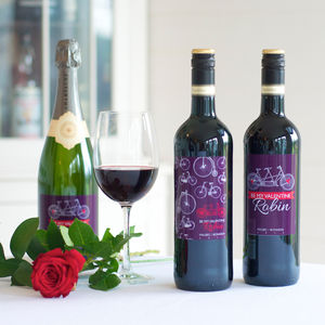 Personalised Malbec Or Rioja Wine With Cycling Label - food & drink