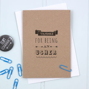 'Thanks For Being An Usher' Card - wedding cards