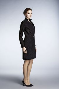 Jacquard Fitted Knee Length Coat - coats